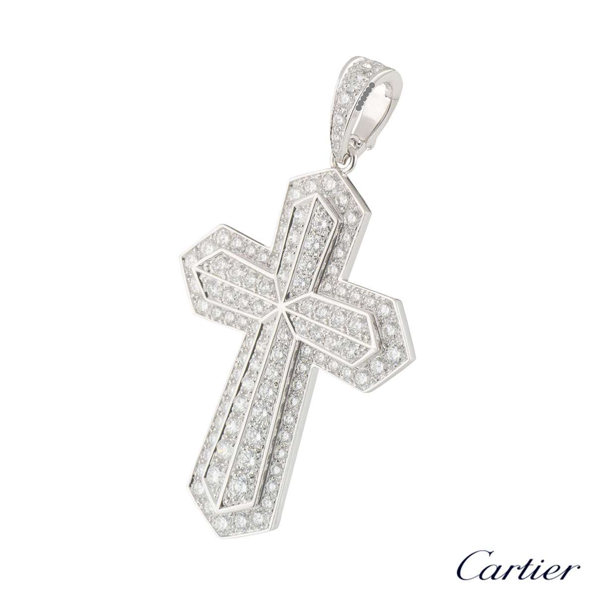 Cartier White Gold Diamond Cross Pendant